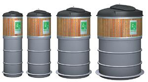 Exemplos de containeres da Molok comercializados no Brasil