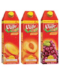 Caixas de 1,5 litros, da Valle, CocaCola Femsa
